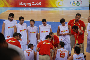 Beijing 08. Spanish Team. Time Out. Basketball